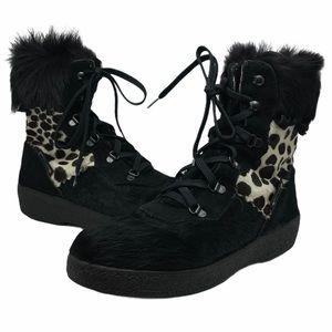 Pajar Leopard Print Furry Winter Boots